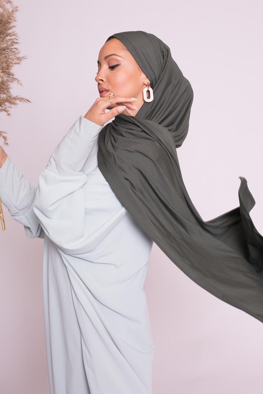 Hijab jersey luxe soft prêt à nouer kaki