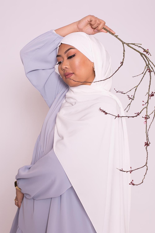 Hijab prêt à nouer soie de médine blanc
