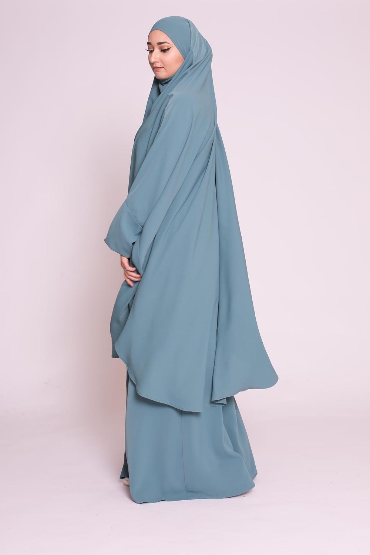Jilbab 2pièces bleu vert