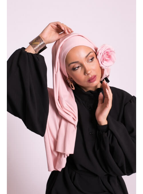 Hijab jersey luxe soft prêt à nouer rose clair