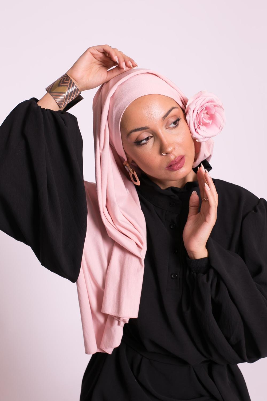 Hijab jersey luxe soft prêt à nouer rose clair