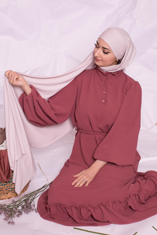 Hijab jersey luxe soft prêt à nouer rose poudré