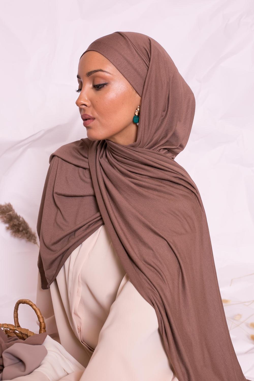 Hijab jersey luxe soft prêt à nouer taupe foncé