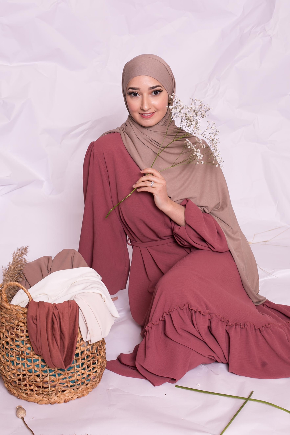 Hijab jersey luxe soft prêt à nouer taupe