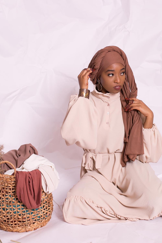 Hijab jersey luxe soft prêt à nouer chocolat