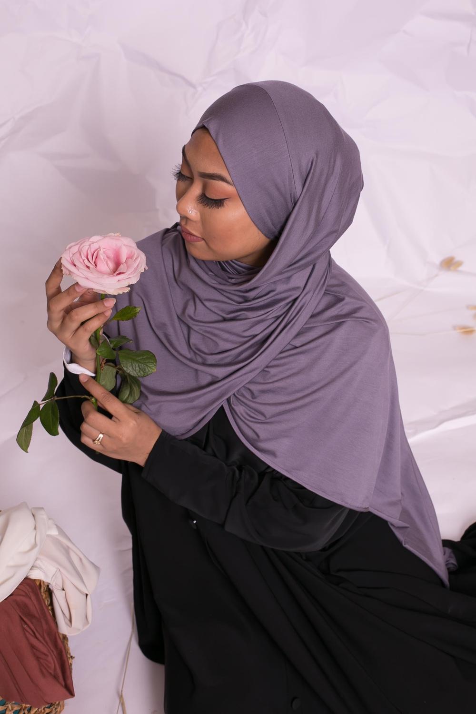 Hijab jersey luxe soft prêt à nouer violet