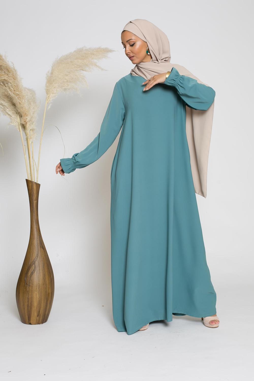 Robe manche tulipe bleu vert