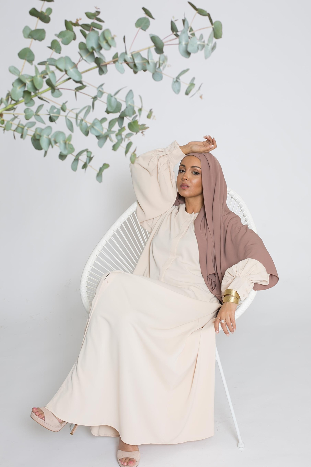 Robe chemise large nude collection printemps été boutique hijab