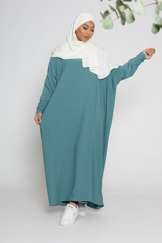 Abaya papillon bleu vert
