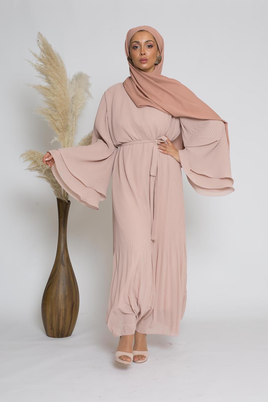 Robe plissé manche large nude