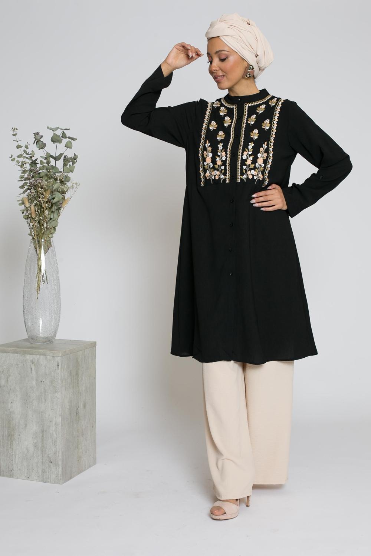 Tunique chemise broderie noir
