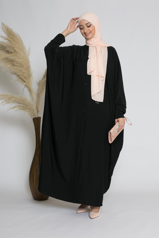 Abaya farasha faux boutons noir