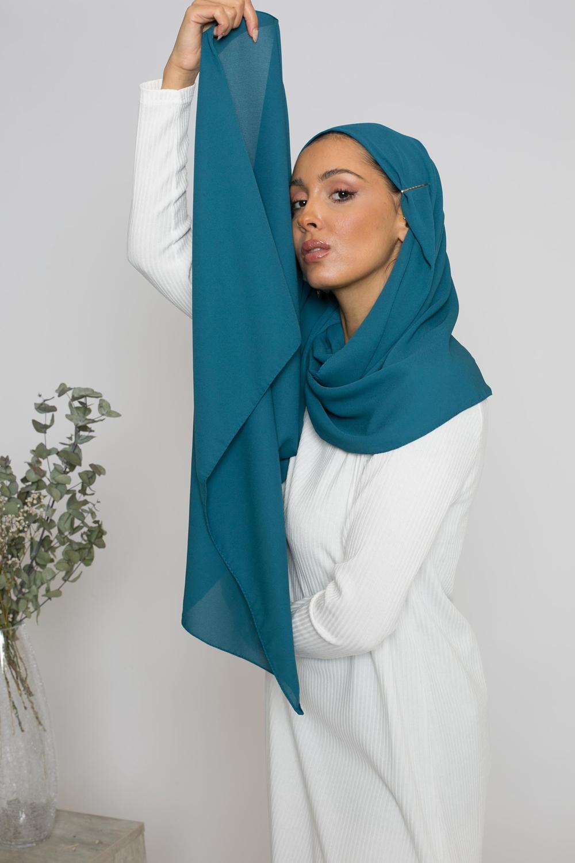 hijab luxe mousseline pétrole
