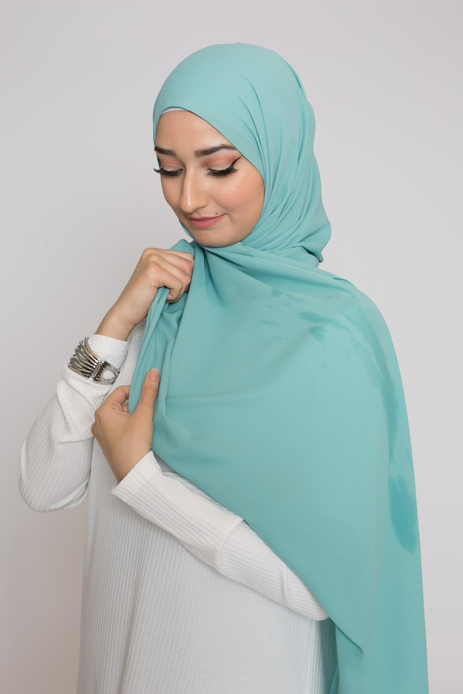 hijab luxe mousseline vert lagon