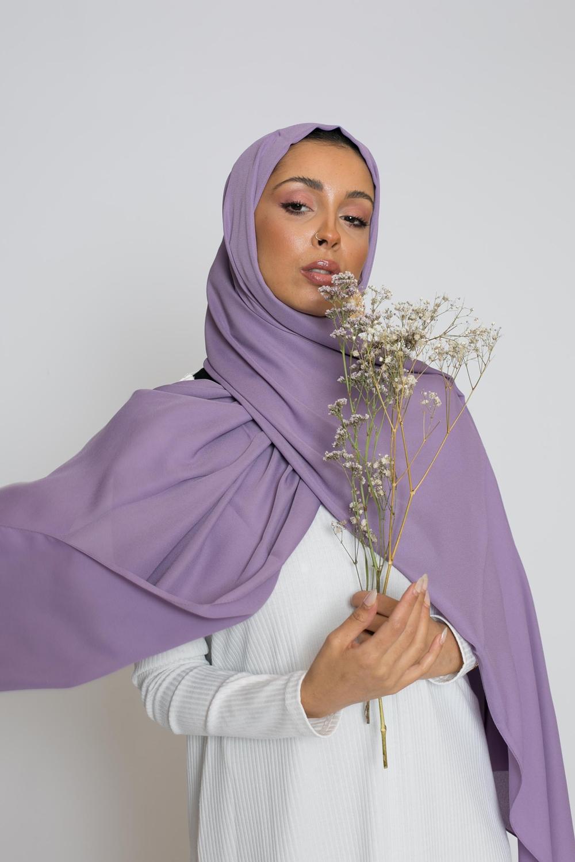 hijab luxe mousseline lavande