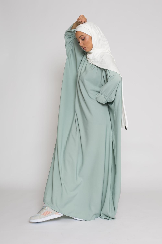 Abaya saoudienne vert eau