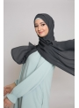 hijab luxe mousseline gris anthracite boutique musulmane