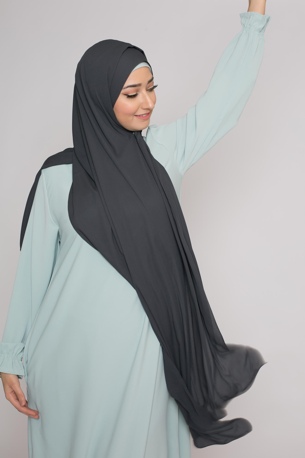 hijab luxe mousseline gris anthracite