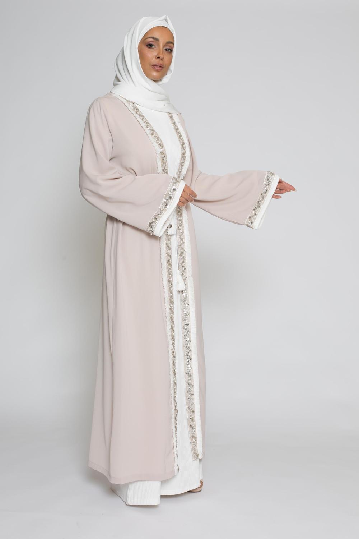 Kimono brodé taupe clair