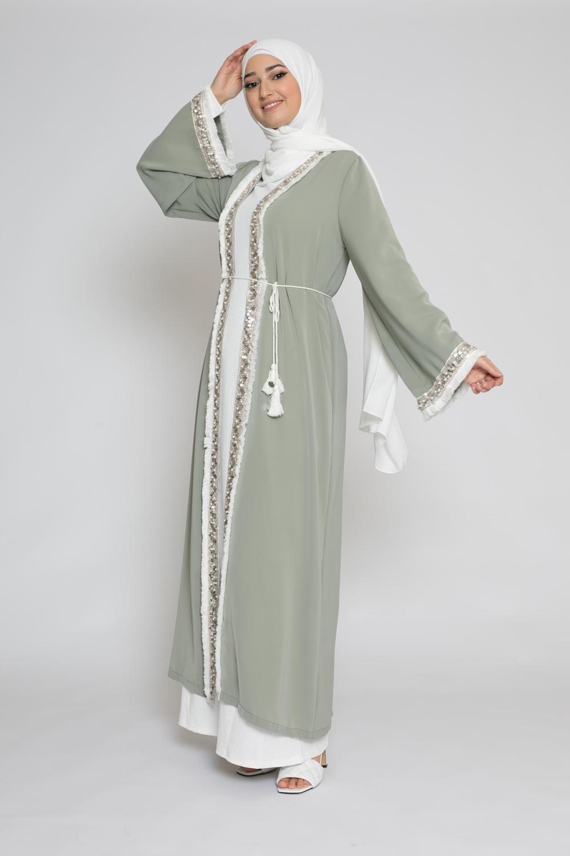 Kimono brodé vert amande