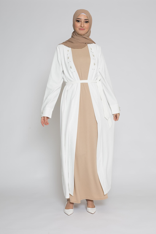 Kimono perlé blanc