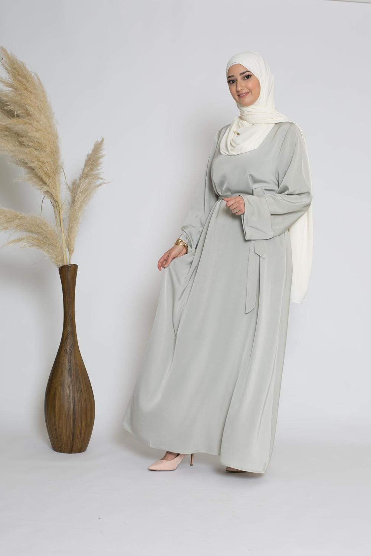Abaya luxery satiné amande