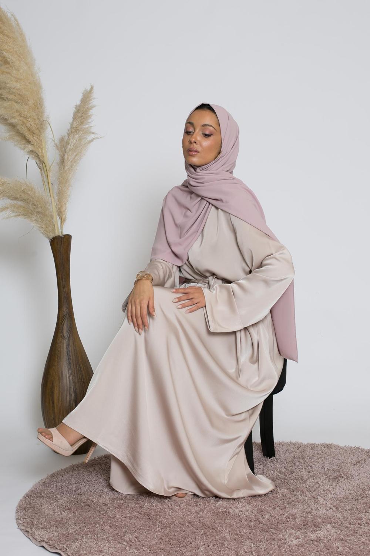 Abaya luxery satiné nude