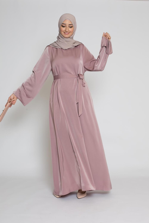 Abaya luxery satiné mauve