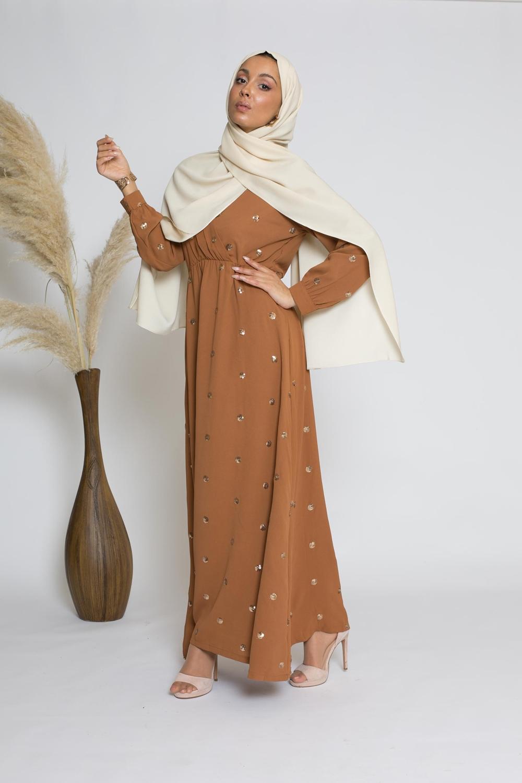 robe sequin ambre