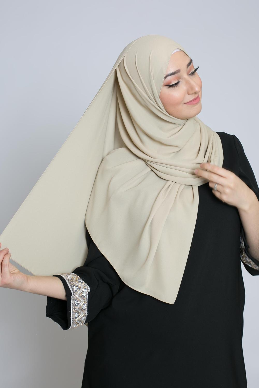 hijab luxe mousseline beige crème
