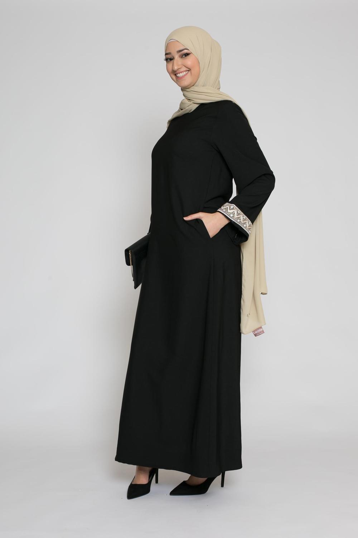 Abaya broderie noir