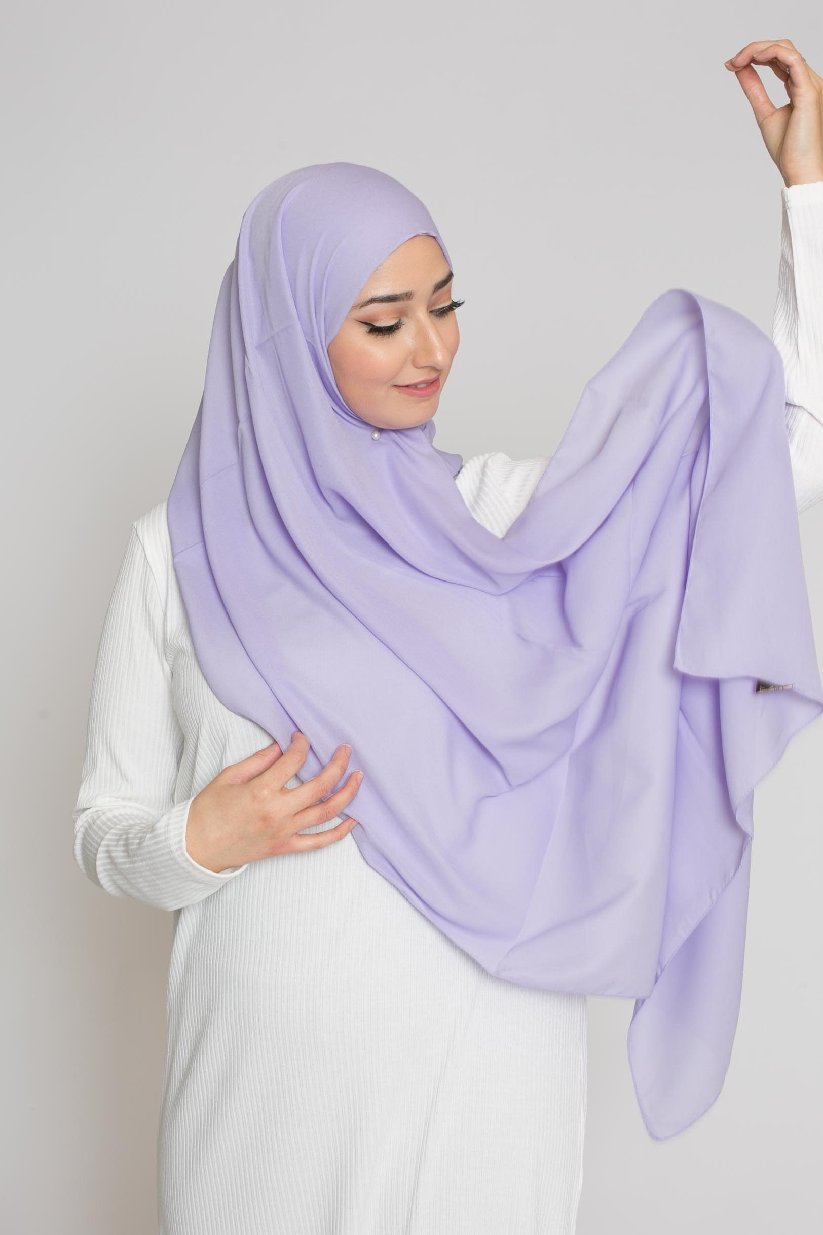 hijab luxe mousseline lilas