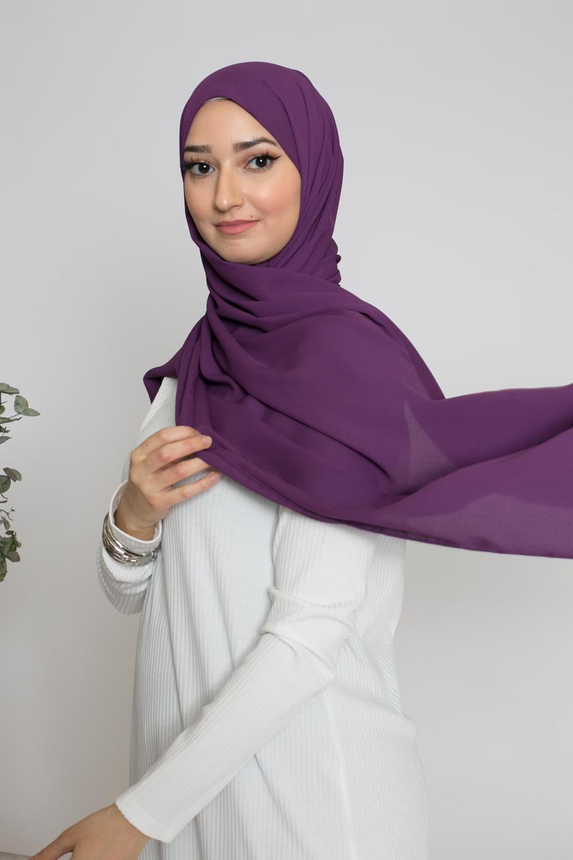 hijab luxe mousseline aubergine