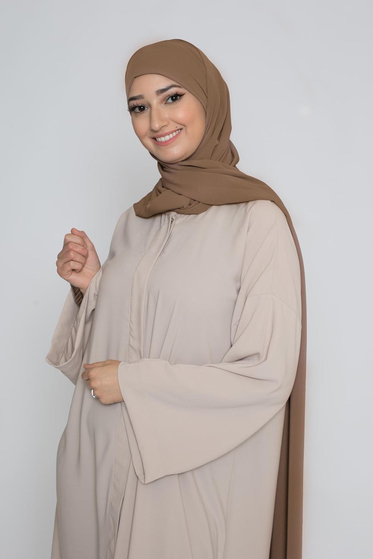 Hijab prêt à nouer soie de médine chataîgne