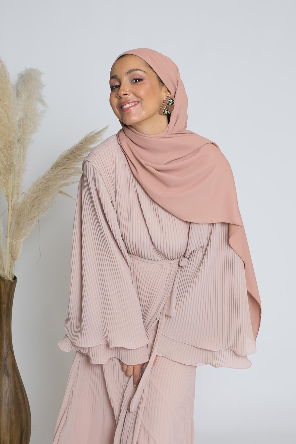 hijab luxe mousseline nude pêche