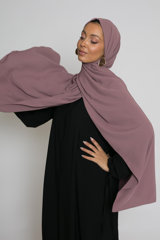 hijab luxe mousseline prune marroné