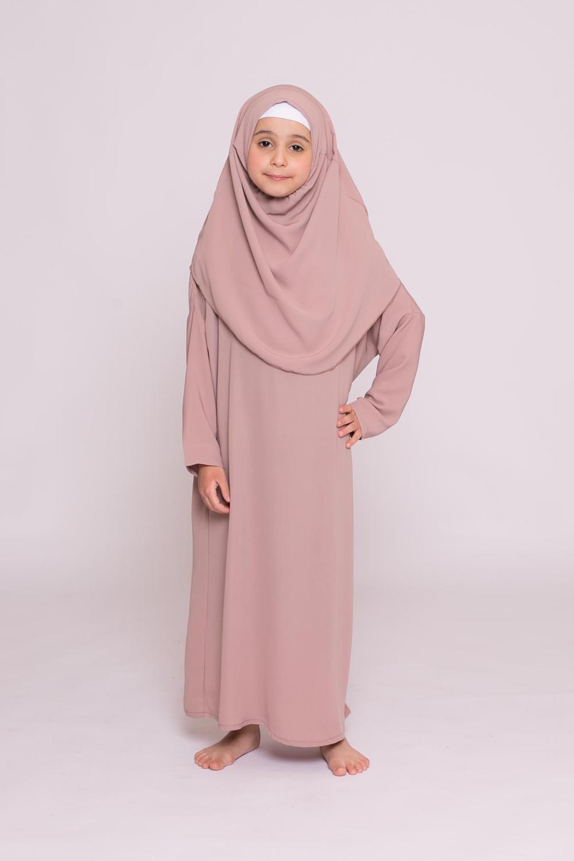 Robe enfant hijab intégré soie de médine taupe rosé