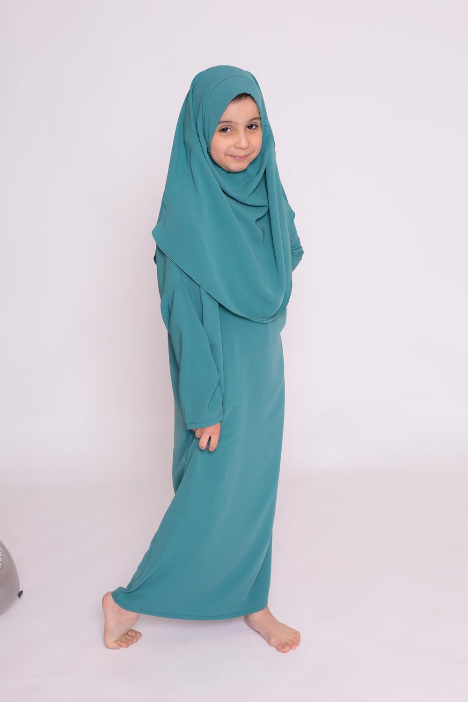 Robe enfant hijab intégré soie de médine vert