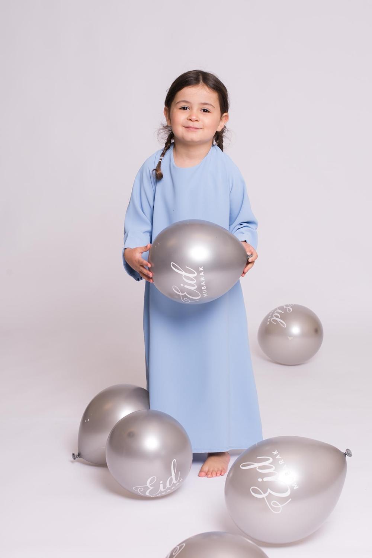 Abaya enfant casual bleu clair