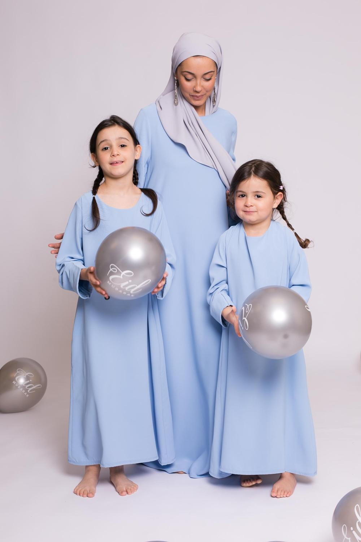 Abaya casual bleu clair