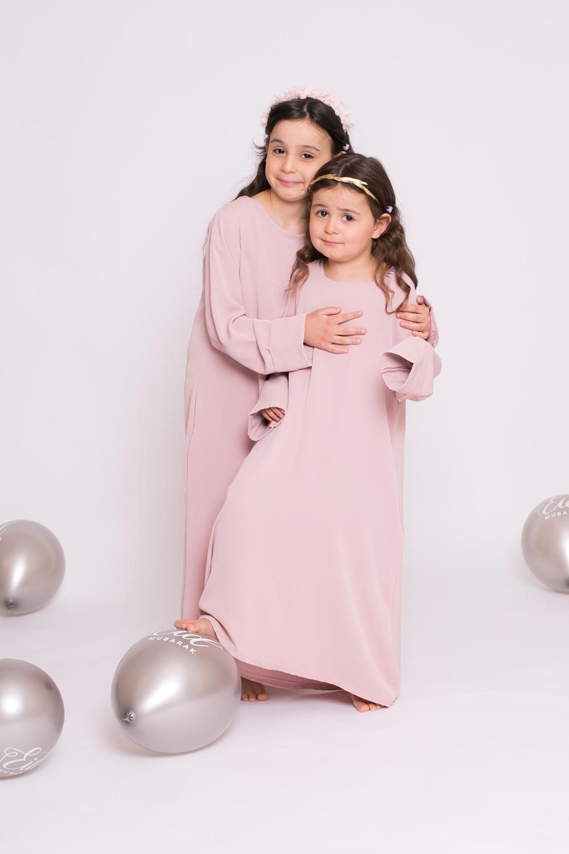 Abaya enfant casual rose poudré