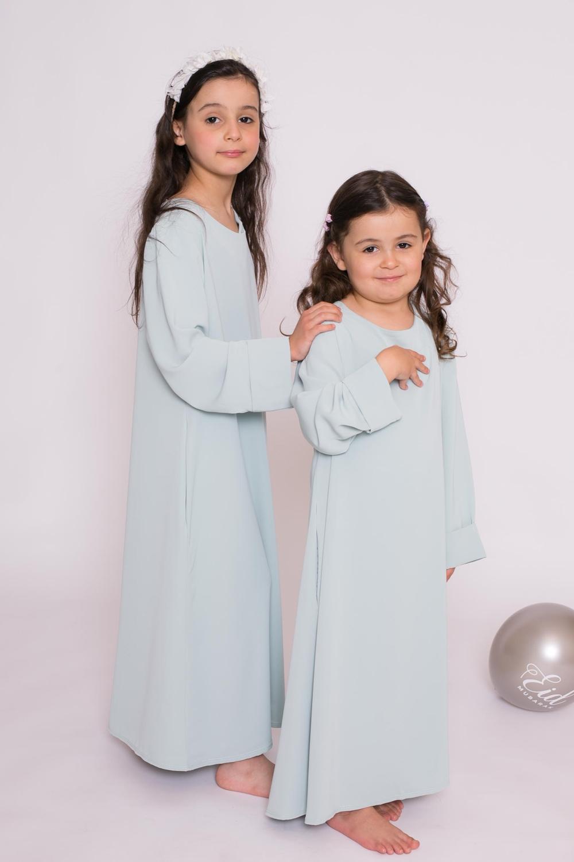 Abaya enfant casual vert eau
