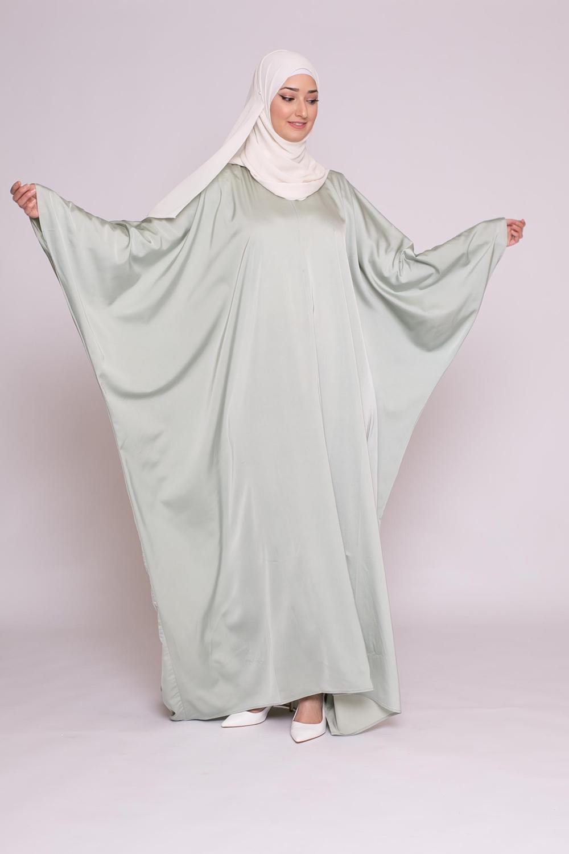 Abaya papillon satiné vert amande