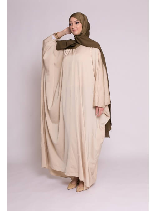 Abaya papillon satiné beige nouvelle collection femme musulmane