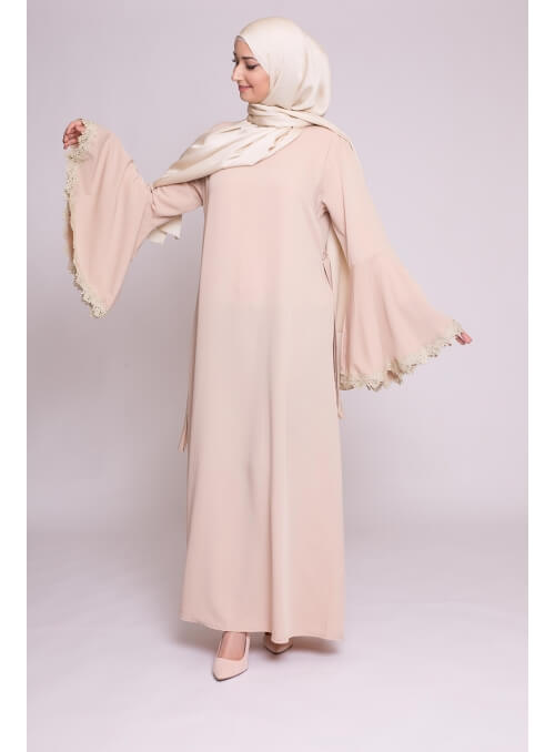Robe manche xl brodée nude nouvelle collection boutique musulmane