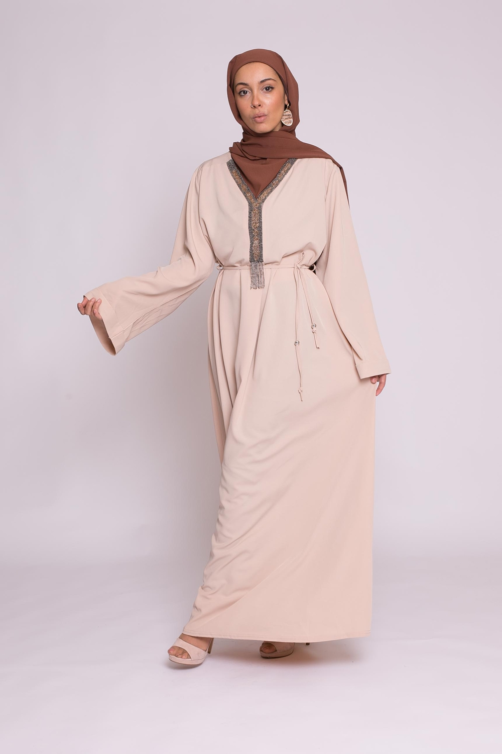Robe pearly nude