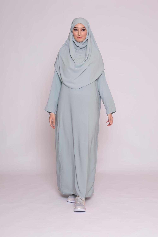 Robe hijab intégré soie de médine vert eau