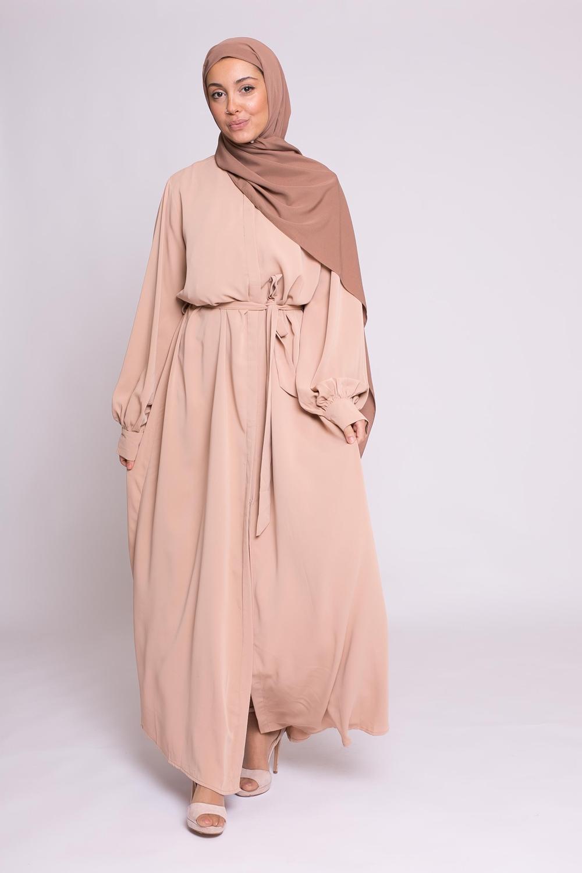 Robe chemise large noisette