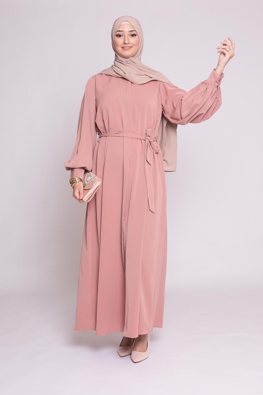 Robe chemise large pêche rosé