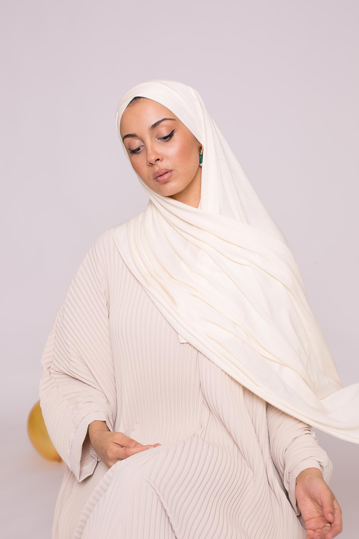Hijab prêt à porter jersey écru